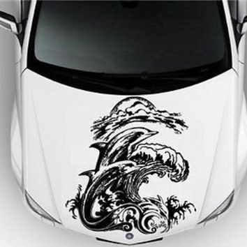 Hood Auto Car Vinyl Decal Stickers Animals Dolphins Surfing Sea Ocean Beach Hous