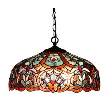 "SADIETiffany-style 2 Light Victorian Ceiling Pendant Fixture 18"" Shade"
