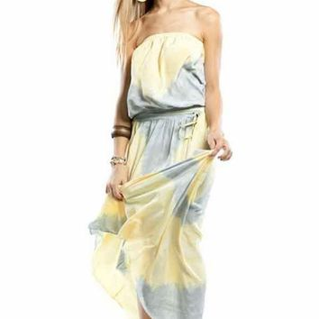 Gypsy 05 Lulu Tube Maxi Dress in Lemon / Silver