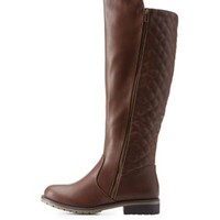 Brown Quilted Lug Sole Riding Boots by Charlotte Russe