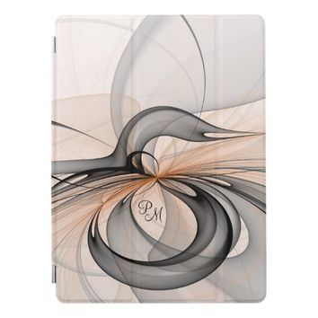 Abstract Anthracite Gray Sienna Fractal Monogram iPad Pro Cover