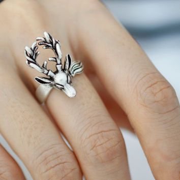 Adjustable Deer/ Moose/ Animal Rings/ Women's Teen's Retro Burnished Jewelry Black Crystal Wrap Ring