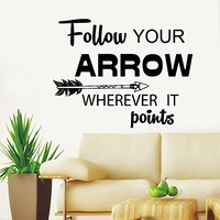 Wall Decals Quotes Follow Your Arrow Wherever it Points Quote Sign Words Arrows Hipster Aztec Fashion Wall Vinyl Decal Stickers Bohemian Home Decor Bedroom Murals Kids Nursery