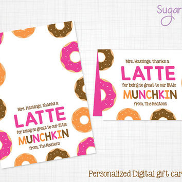 Teacher Appreciation Gift Tag, Teacher Gift Tag, Coffee gift tag, Munchkin gift tag, coffee gift card holder, Personalized gift tag