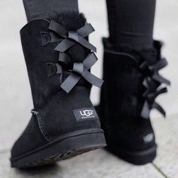 Ugg Women Fashion Bow Leather Wool Snow Boots-3