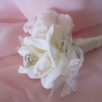 Ivory Vintage Inspired Fabric Flower Boutonniere Groom Groomsmen  Usher Father of the Bride in Ivory with Rhinestone Accent..Custom