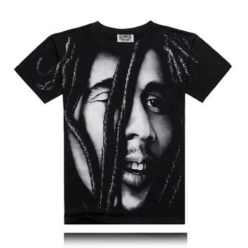 High Quality Cotton Bob Marley Quotes Music Reggae Rastafari Men Tee Tops Jamaica Camisa Clothing Wailing Wailers T shirt