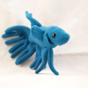 Betta Fish Plush with Crown Tail in Blue