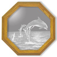 """Dolphins"" Etched Glass Mirrors"