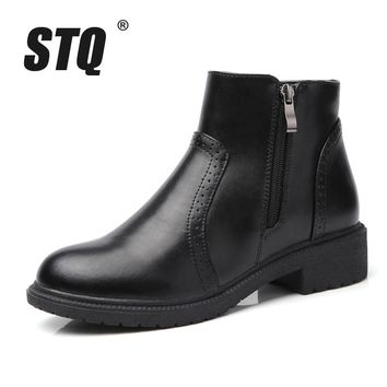 STQ 2017 Winter women leather ankle boots women high buckle zipper Motorcycle Boots mid-calf boots ladies cowboy boots J20