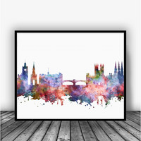 Edinburgh Skyline Art Print Poster
