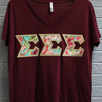 Sigma Sigma Sigma Maroon Bella Flowy V-Neck With Amy Butler Bliss Bouquet on Gold Metallic (254C)