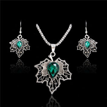 New Fine 2016 Women Romantic Maple Leaf Shape AAA Zircon Wedding Jewelry Earring/Necklace Bridal Jewelry Set