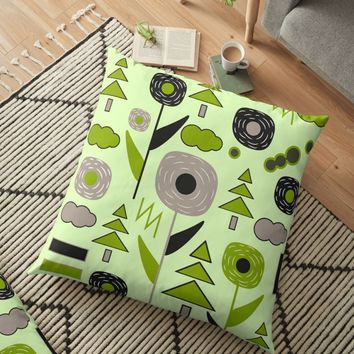 'Flowers on a rainy day' Floor Pillow by cocodes