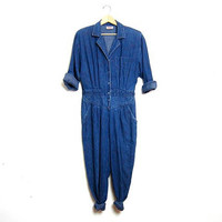80s denim jumpsuit with roses / one piece jumper