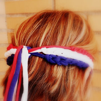 3 American flag headbands for women -  4th of July headband adult -  Patriotic headband - USA Soccer World Cup 2014 - Crochet  head bands.
