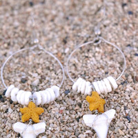 Shark Tooth Aloha Earrings
