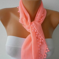 Candy Pink Scarf - Cotton  Scarf - Headband Necklace