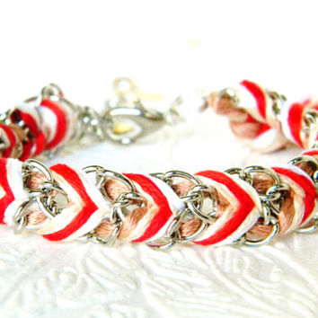Cinnamon Sticks - Cinnamon, Light Cinnamon, Red Swirl & Cream Swirl - Adjustable Chevron Braided Modern Friendship Bracelet