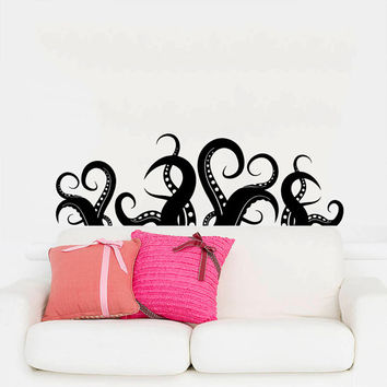 Wall Decal Vinyl Sticker Decals Art Home Decor Design Murals Octopus Tentacles Fish Deep Sea Ocean Animals Fashion Bedroom Bathroom AN166