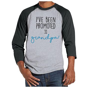 Pregnancy Announcement - Promoted to Grandpa Shirt - Mens Grey Raglan Shirt - Pregnancy Reveal Idea - Surprise New Grandparents - Its a Boy