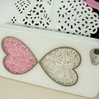 Cute Double Hearts Dancing Diamond Cases for iPhone 4/4S
