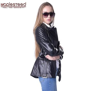 Factory Women Genuine Leather Coat Belt 100% Real Sheepskin Black Sky Blue Soft Slim Fit Long Women's Leather Jacket Autumn F184