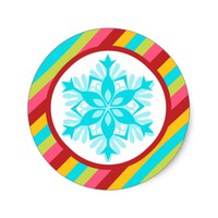 Bright Candy Snowflake Holiday Stickers
