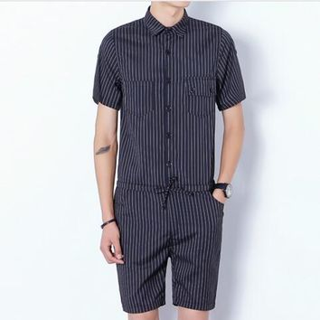 Gothic Rompers For Men Mens Striped Jumpsuit Harem Cargo Overalls Summer Hip-Hop Casual Bibs Pants