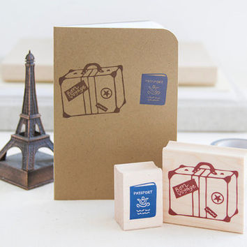 Bon Voyage Rubber Stamp Set Vintage Suitcase Luggage and Passport - Destination Wedding Travel Scrapbook Getaway