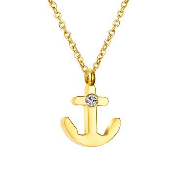 Crystal Anchor Charm Necklace [Steel or Gold]