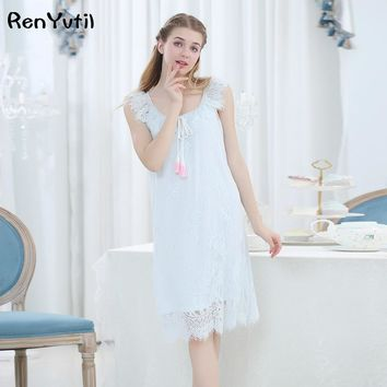 RenYvtil Lace Sleepshirts Ladies Victorian Retro Cotton Princess Sleepwear Elegant Nightwear Soft Cotton Nightgown Embroidery
