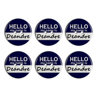 Deandre Hello My Name Is Plastic Resin Button Set of 6