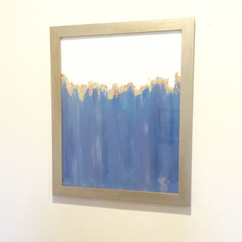 "Ombre Acrylic Painting on Canvas Panel, Frame Included; Light Blue, Navy Blue, Grey; 16""x20"" Unframed; 18""x22"" Framed; Minimalist Home Decor"