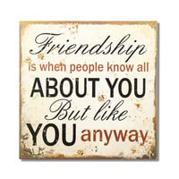 """Adeco Decorative Wood Wall Hanging Sign Plaque """"Friendship"""" Off White, Brown, Black Home Decor"""