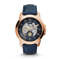 Grant Three-Hand Automatic Leather Watch - Navy