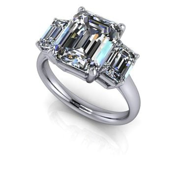 Emerald Cut Three Stone Anniversary Ring - Emerald Cut SUPERNOVA Colorless Moissanite Ring