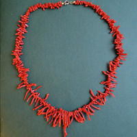 Vintage Faux Coral Necklace, 19 inches, Dark Orange-Red, 1980s Fashion Jewelry
