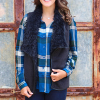 Colder Weather Fur Lined Vest {Black}