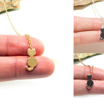 Cat Kitten Personalized Dainty Necklace Bracelet Anklet Delicate Hand Stamped Jewelry