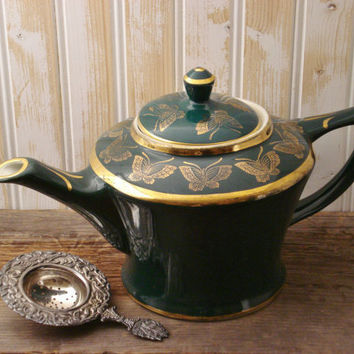 Vintage Hall Teapot USA / 6-Cup Teapot / Hall China Company / Green and Gold Teapot