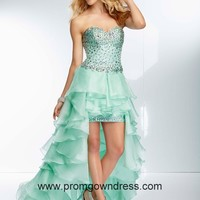 High-low Apple Green Sweetheart Beading and Ruffled Layers Prom Dress Style OLEM037,2014 Prom Dresses