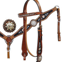 Saddles Tack Horse Supplies - ChickSaddlery.com Showman Beaded Inlay Leather Headstall, Reins, Breast Collar Set With Diamond Crystal Accents