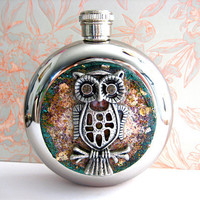 Silver Owl Mixed Media Flask by HarmlessHabit on Etsy