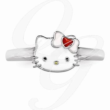 Hello Kitty Sterling Silver Enamel Ring