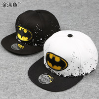 2015 Fashion Kids Cartoon Snapback Caps, Flat Brim child baseball cap, embroidery childrens spiderman hats, Cute batman hat