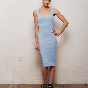 Mae Strappy Bodycon Midi Dress in Pastel Blue