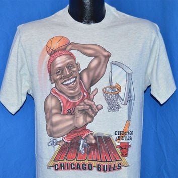 90s Chicago Bulls Dennis Rodman Slam Dunk Caricature t-shirt Medium