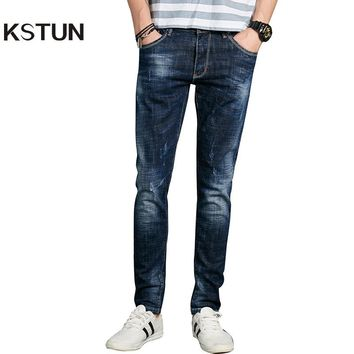 KSTUN Fashion Jeans Men Europe American Blue Skinny Tapered Casual Jeans Pockets Desinger Pencils High Stretch Mens Joggers Jean