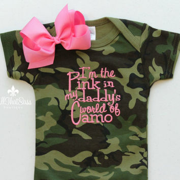 3081d0ff7 Baby Girls Camo Outfit with Bow - Camouflage - Pink - Daddy - Hunting -  Bodysuit - Cre